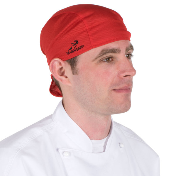 Headsweats 8807-803 Red Customizable Shorty Chef Cap Main Image 1