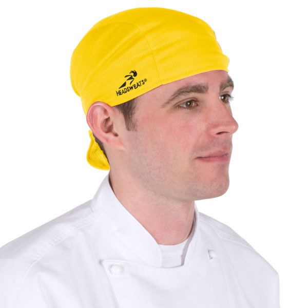 bf8d87ccd6cf0 Provide maximum comfort and style for your restaurant s kitchen team with  this yellow Headsweats shorty chef cap!