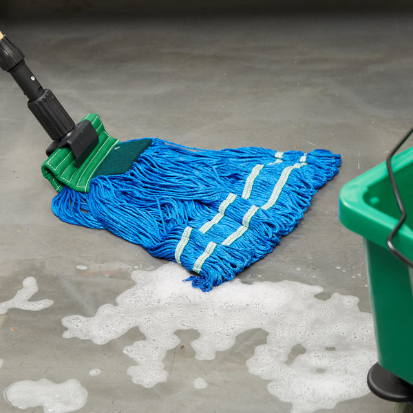 """Knuckle Buster MFSTM22GN 22 oz. Large Knuckle Buster Microfiber String Mop Head with Green Scrubber and 5"""" Band"""