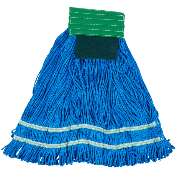 Knuckle Buster MFSTM22GN 22 oz. Large Knuckle Buster Microfiber String Mop Head with Green Scrubber and 5 inch Band