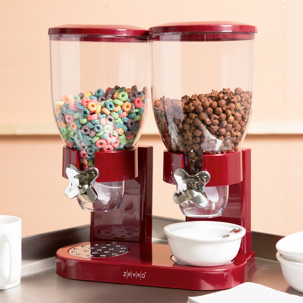 Zevro KCH-06125 Red Double Canister Dry Food Dispenser