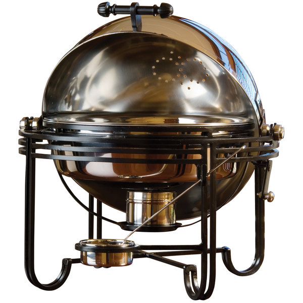 American Metalcraft MESA19 6 Qt. Round Stainless Steel Roll Top Chafer