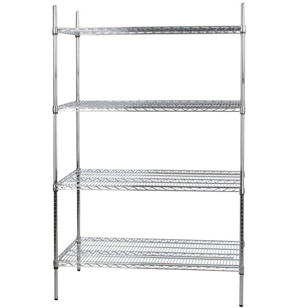 silver wire shelving unit with four shelves