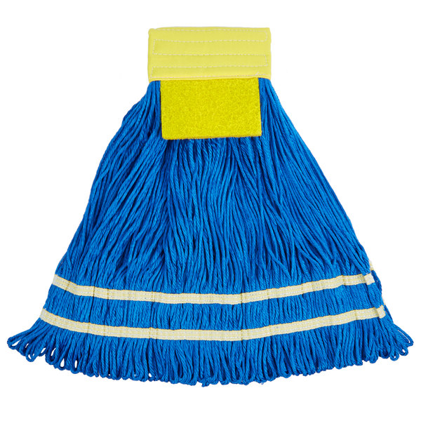 Knuckle Buster MFSTM22YE 22 oz. Large Knuckle Buster Microfiber String Mop Head with Yellow Scrubber and 5 inch Band