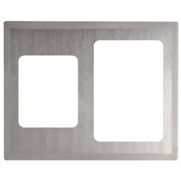 Vollrath 8250816 Miramar Stainless Steel Double Size Adapter Plate with Satin Finish Edge for Large Food Pan and Small Food Pan