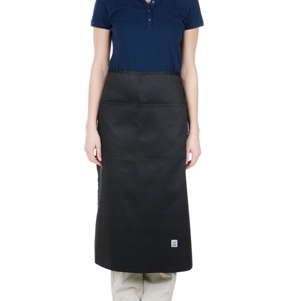 """Chef Revival 607BA2-BK Customizable Long Black Crew Bistro Apron with Two Pockets - 34""""L x 28""""W"""