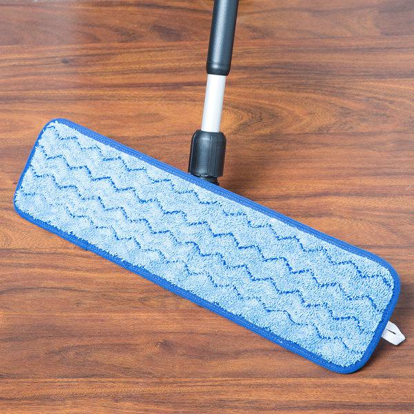 "Knuckle Buster MFFM18ZZ 18"" Blue Microfiber Wet Velcro® Scrubber Flat Mop Pad"