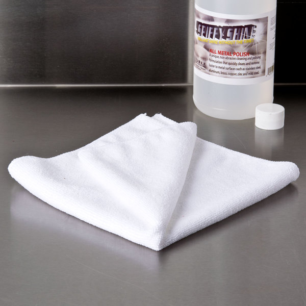 """16"""" x 16"""" White Microfiber Cleaning Cloth"""