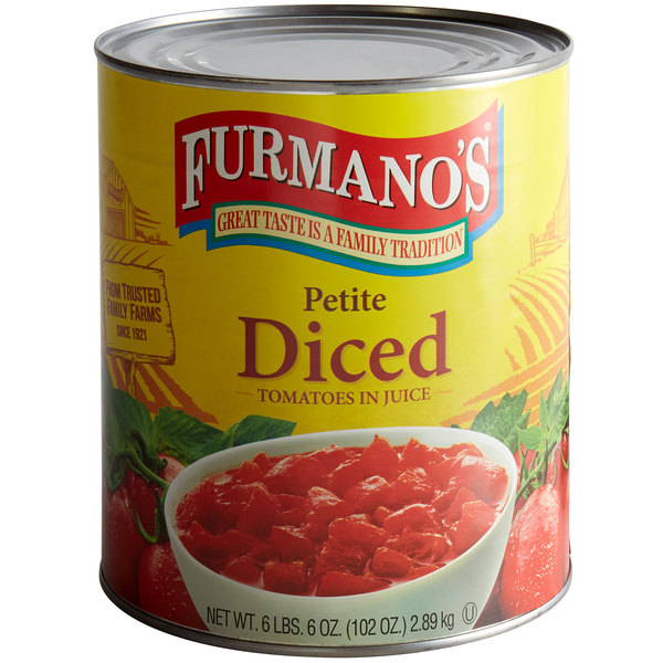 Furmano's Petite Diced Tomatoes with Juice #10 Can - 6/Case Main Image 1