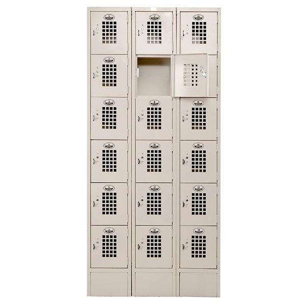 """Winholt WL-618/15 Triple Column Eighteen Door Locker with Perforated Doors - 36"""" x 15"""""""