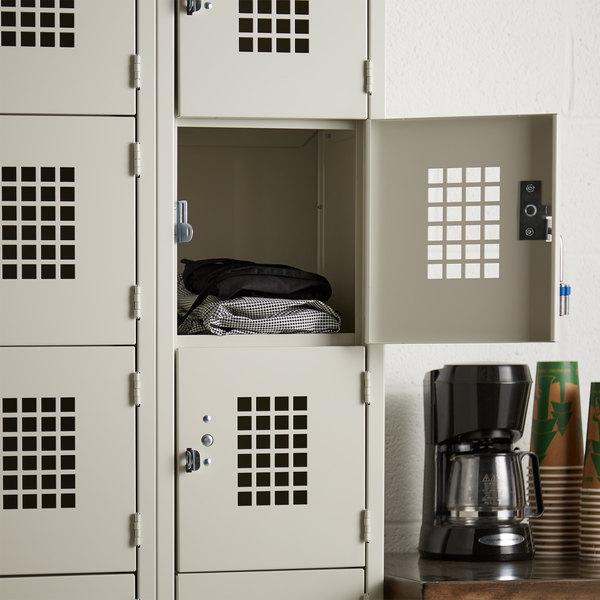 """Winholt WL-618/15 Triple Column Eighteen Door Locker with Perforated Doors - 36"""" x 15"""" Main Image 4"""