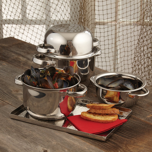American Metalcraft SSMS10 3.68 Qt. Stainless Steel Mussel Serving Bowl with Lid Main Image 8