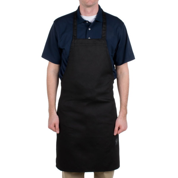 "Chef Revival 601NP-BK Customizable Black Bib Apron - 34""L x 28""W"