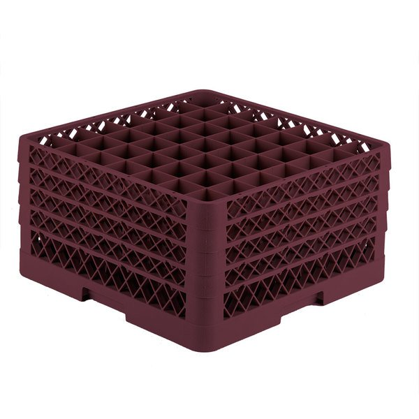 "Vollrath TR9EEEE Traex® Full-Size Burgundy 49-Compartment 9 7/16"" Glass Rack Main Image 1"