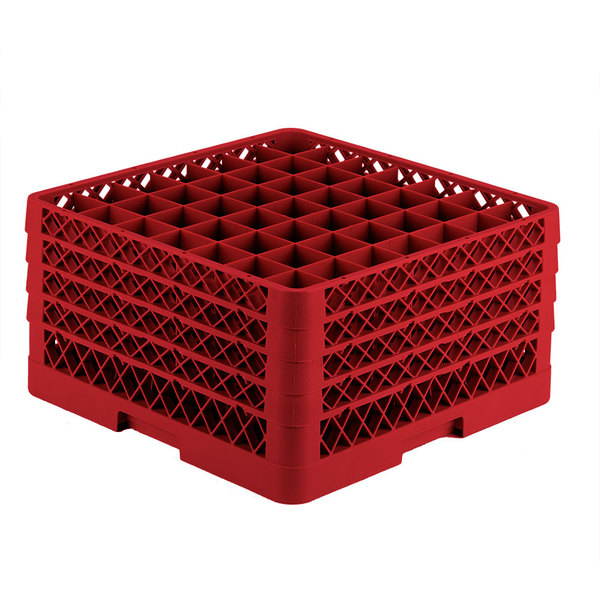"""Vollrath TR9EEEE Traex® Full-Size Red 49-Compartment 9 7/16"""" Glass Rack Main Image 1"""