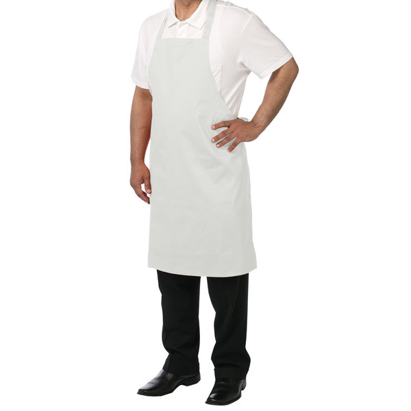 Chef Revival 601NP-WH Customizable White Bib Apron - 34 inchL x 28 inchW