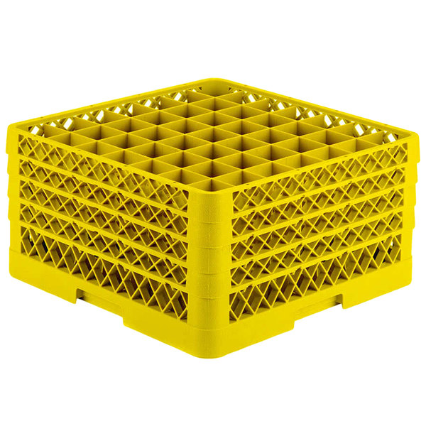 """Vollrath TR9EEEEA Traex® Full-Size Yellow 49-Compartment 11"""" Glass Rack with Open Rack Extender On Top"""