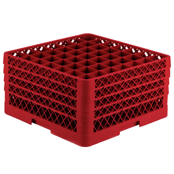 "Vollrath TR9EEEEA Traex® Full-Size Red 49-Compartment 11"" Glass Rack with Open Rack Extender On Top Main Image 1"