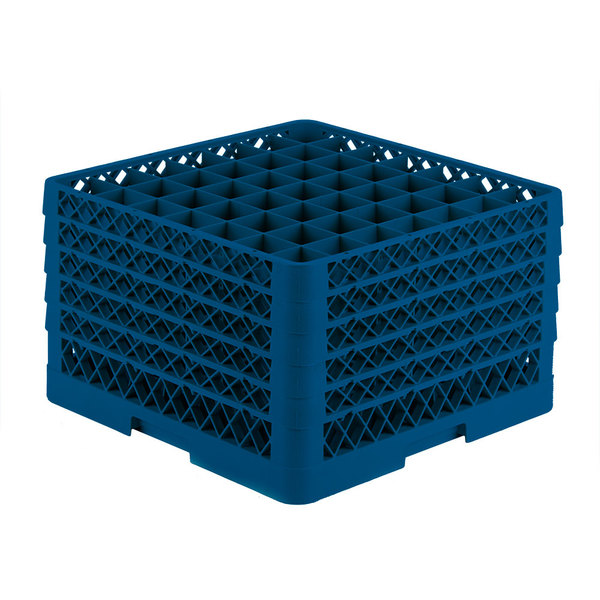 """Vollrath TR9EEEEA Traex® Full-Size Royal Blue 49-Compartment 11"""" Glass Rack with Open Rack Extender On Top Main Image 1"""