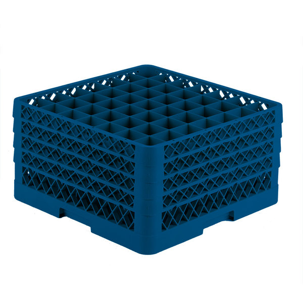 "Vollrath TR9EEEE Traex® Full-Size Royal Blue 49-Compartment 9 7/16"" Glass Rack Main Image 1"
