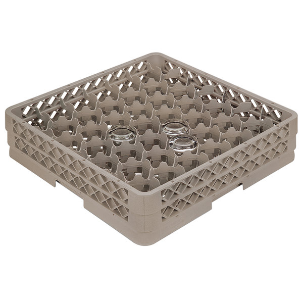 "Vollrath TR13M Traex® Rack Max Full-Size Beige 42-Compartment 2 1/16"" Glass Rack"