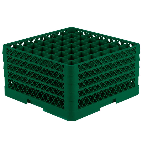 "Vollrath TR9EEEEA Traex® Full-Size Green 49-Compartment 11"" Glass Rack with Open Rack Extender On Top"