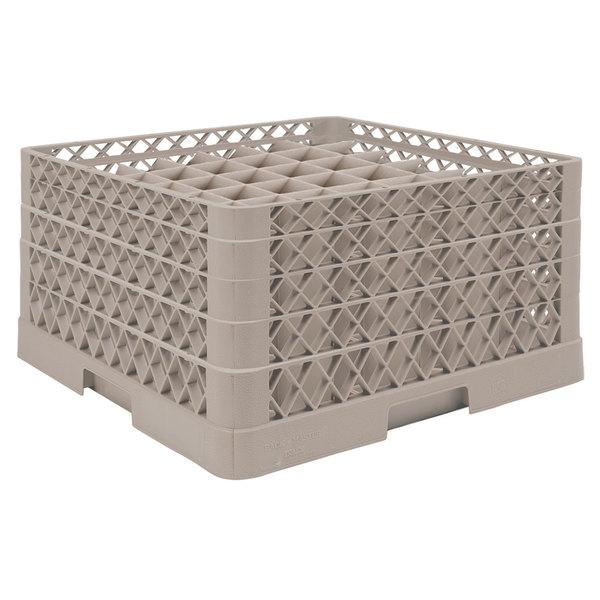 "Vollrath TR9EEEA Traex® Full-Size Beige 49-Compartment 9 7/16"" Glass Rack with Open Rack Extender On Top"