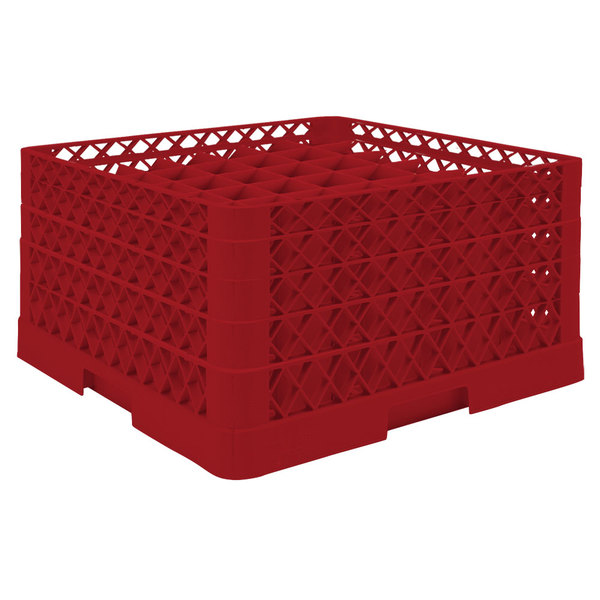 "Vollrath TR9EEEA Traex® Full-Size Red 49-Compartment 9 7/16"" Glass Rack with Open Rack Extender On Top"