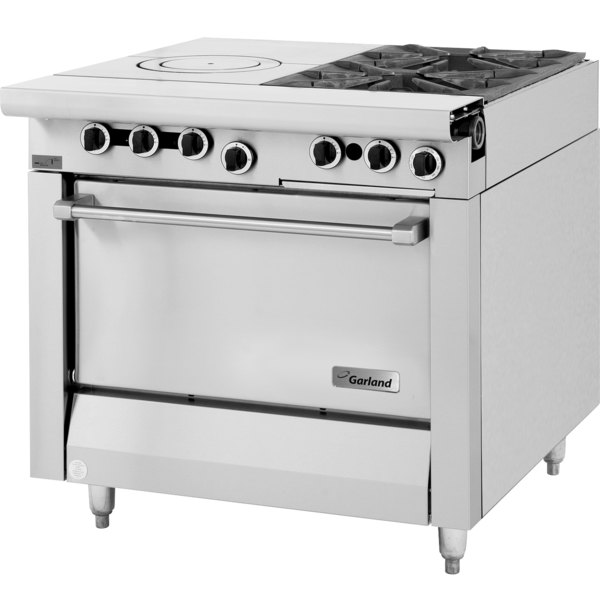 """Garland M54S Master Series Natural Gas 2 Burner 34"""" Range with Front Fired Hot Top and Storage Base - 115,000 BTU"""