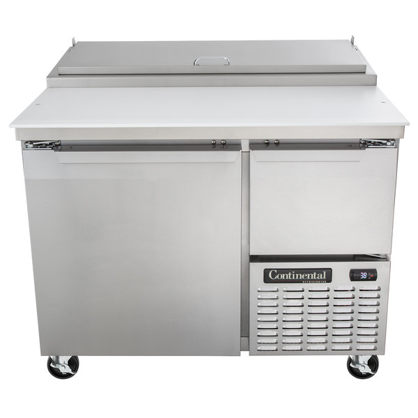 "Continental Refrigerator CPA43 43"" Customizable Pizza Prep Table with Full and Half Doors"