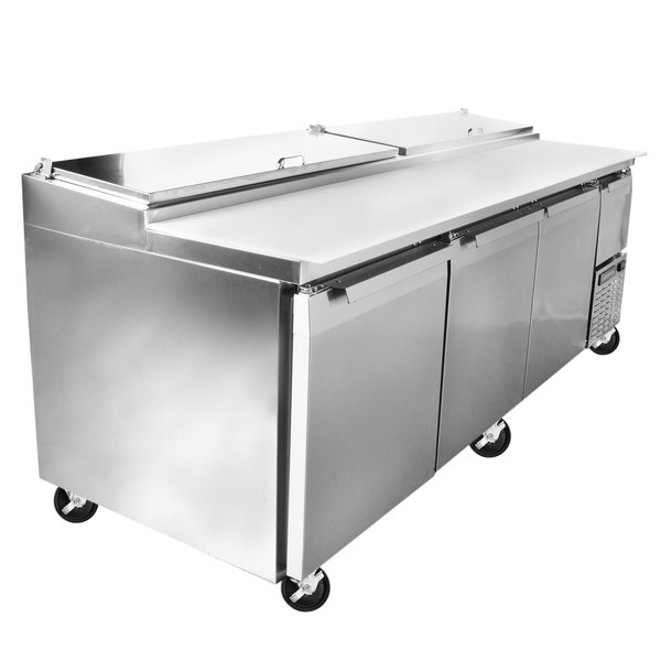 """Continental Refrigerator CPA93 93"""" Customizable Pizza Prep Table with Three Full Doors and Half Door"""