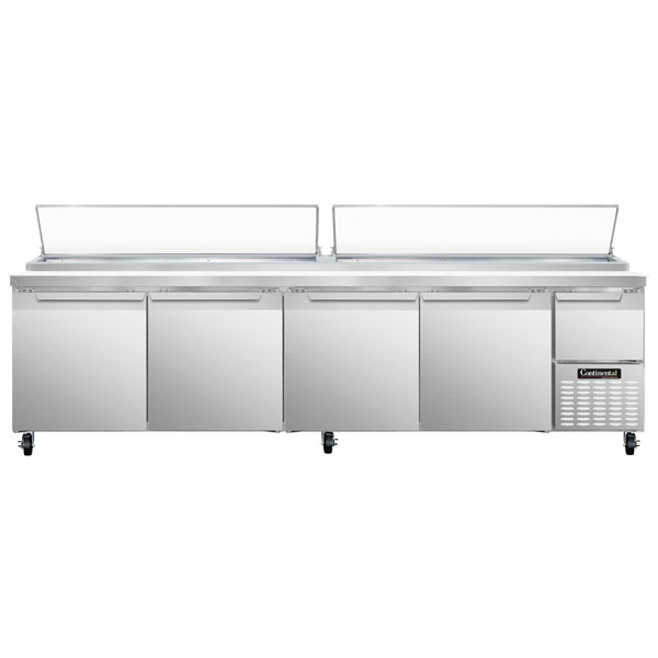 """Continental Refrigerator CPA118 118"""" Customizable Pizza Prep Table with Four Doors and One Half Door Main Image 1"""