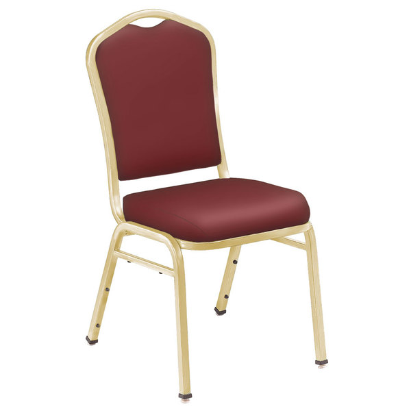 "National Public Seating 9308-G Silhouette Style Stack Chair with 2"" Padded Seat, Gold Metal Frame, and Pleasant Burgundy Vinyl Upholstery"