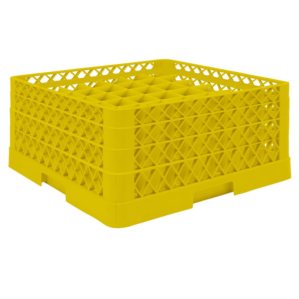 """Vollrath TR9EEA Traex® Full-Size Yellow 49-Compartment 7 7/8"""" Glass Rack with Open Rack Extender On Top Main Image 1"""