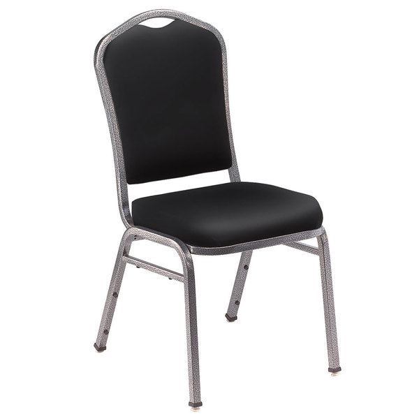 """National Public Seating 9310-SV Silhouette Style Stack Chair with 2"""" Padded Seat, Silvervein Metal Frame, and Panther Black Vinyl Upholstery"""
