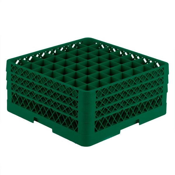 """Vollrath TR9EEE Traex® Full-Size Green 49-Compartment 7 7/8"""" Glass Rack"""
