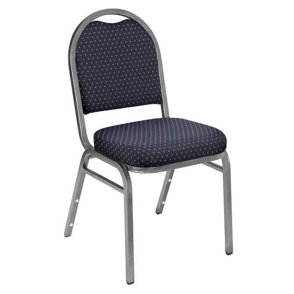 """National Public Seating 9264-SV Dome Style Metal Stack Chair with 2"""" Padded Seat, Silvervein Metal Frame, and Diamond Navy Fabric Upholstery"""