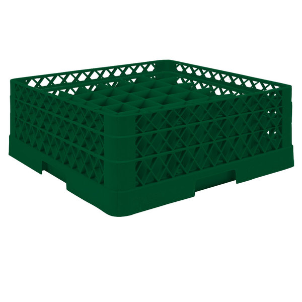 """Vollrath TR9EA Traex® Full-Size Green 49-Compartment 6 3/8"""" Glass Rack with Open Rack Extender On Top Main Image 1"""