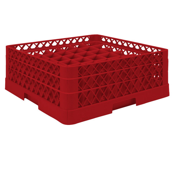 "Vollrath TR9EA Traex® Full-Size Red 49-Compartment 6 3/8"" Glass Rack with Open Rack Extender On Top"