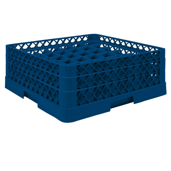 """Vollrath TR9EA Traex® Full-Size Royal Blue 49-Compartment 6 3/8"""" Glass Rack with Open Rack Extender On Top Main Image 1"""