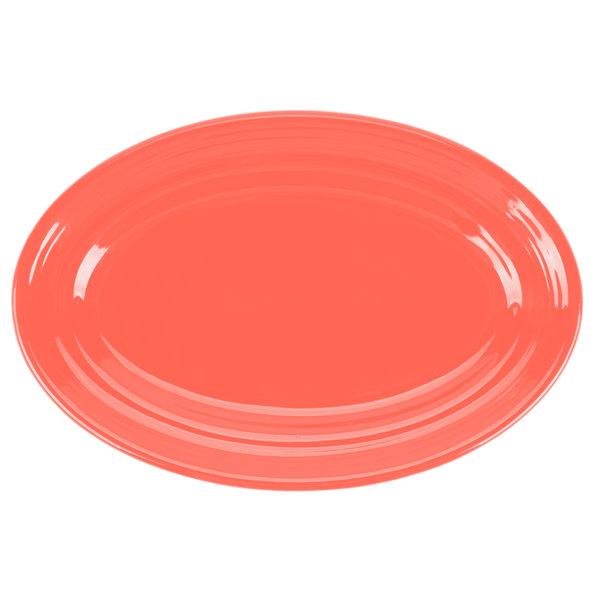 "Tuxton CNH-096 Concentrix 9 3/4"" x 6 1/2"" Cinnebar Oval China Platter - 24/Case"