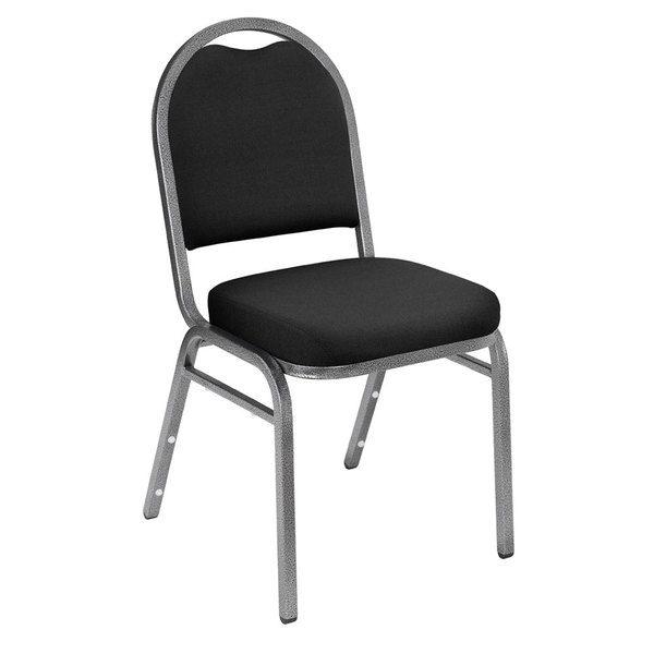 """National Public Seating 9260-SV Dome Style Stack Chair with 2"""" Padded Seat, Silvervein Metal Frame, and Ebony Black Fabric Upholstery"""