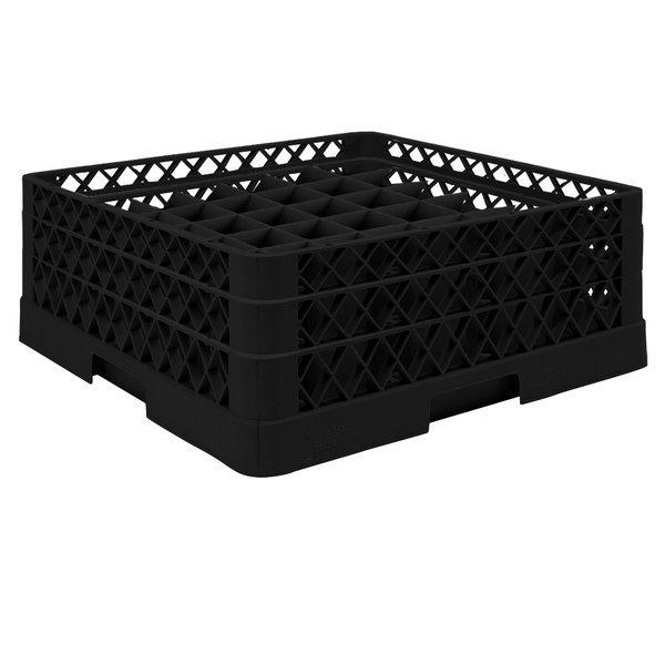 "Vollrath TR9EA Traex® Full-Size Black 49-Compartment 6 3/8"" Glass Rack with Open Rack Extender On Top"