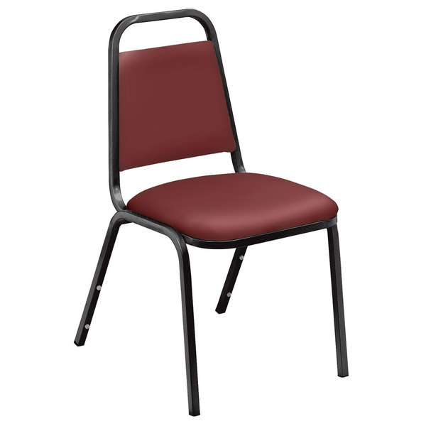 "National Public Seating 9108-B Standard Style Stack Chair with 1 1/2"" Padded Seat, Black Metal Frame, and Pleasant Burgundy Vinyl Upholstery"