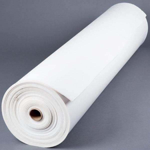 Roll of white vinyl table padding
