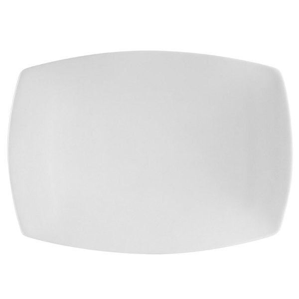 "CAC COP-RT13 12 1/4"" x 9"" Coupe Bright White Rectangular Porcelain Platter - 12/Case"