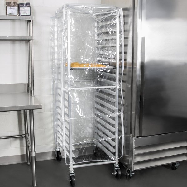 "Heavy Duty Clear Bun Pan Rack Cover with 3 Zippers - 28"" x 24"" x 63"" Main Image 4"