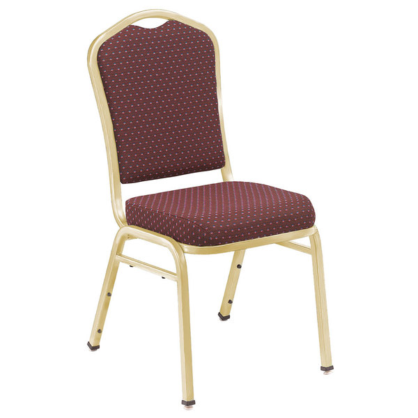 "National Public Seating 9368-G Silhouette Style Stack Chair with 2"" Padded Seat, Gold Metal Frame, and Diamond Burgundy Fabric Upholstery"