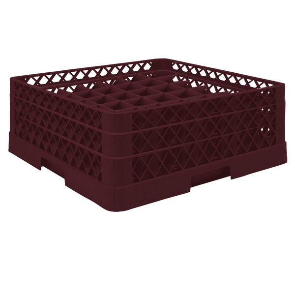 "Vollrath TR9EA Traex® Full-Size Burgundy 49-Compartment 6 3/8"" Glass Rack with Open Rack Extender On Top"