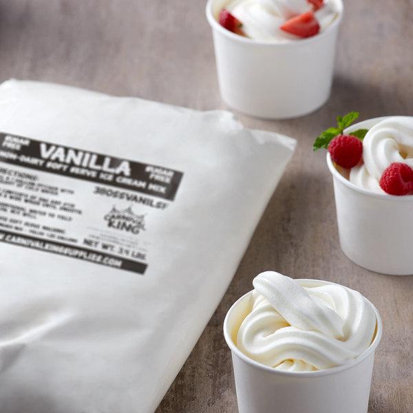 Carnival King Non-Dairy and Sugar Free Vanilla Soft Serve Ice Cream Mix 3.4 lb. Bag - 4/Case Main Image 2